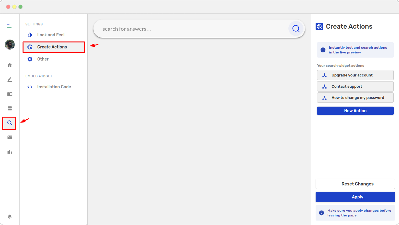 Create actions page